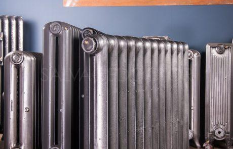 National Radiator Company (NRC) Single Column Duchess cast iron radiator 140mm deep & 810mm high in church Burnish