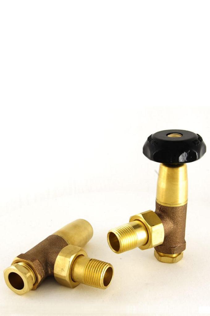 Old school manual radiator Valves in Unlacquered Brass