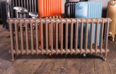 Ideal Standard Narrow (70mm deep) School Cast Iron Radiator 450mm High in Farrow & Ball London Clay