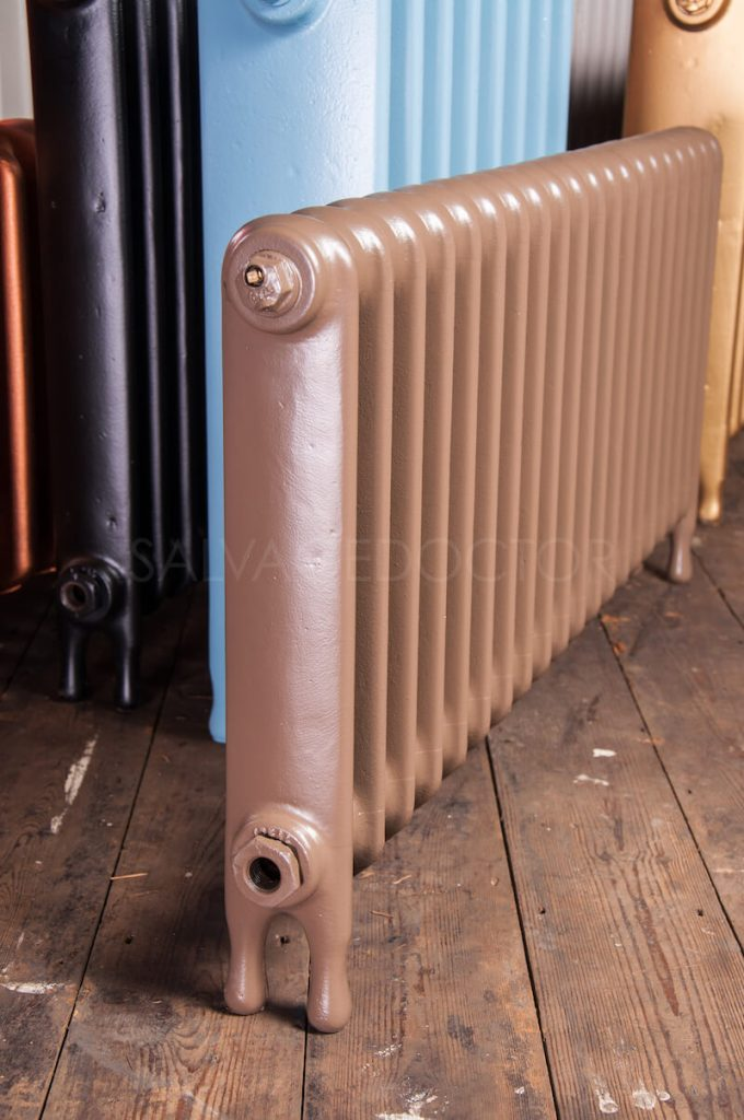 Ideal Standard Narrow (75mm deep) School Cast Iron Radiator 450mm High in Farrow & Ball London Clay