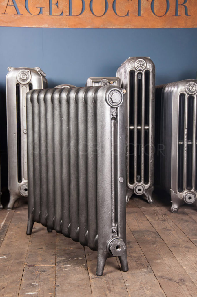 SOLD - Single Column Plain Cast Iron Radiator (Maker Unknown) 770mm High in Church Burnish